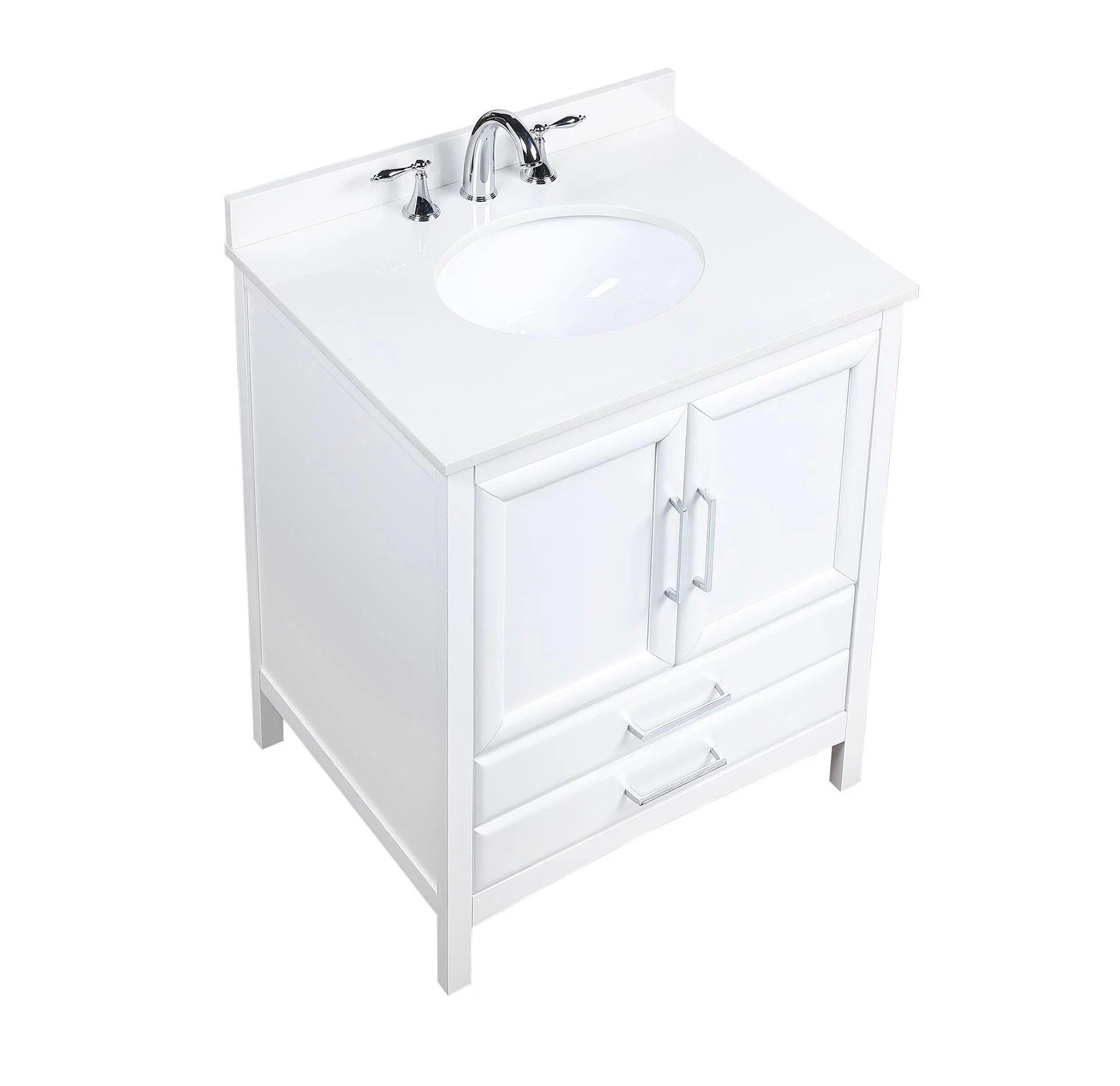 vanity art 30 inch single sink bathroom vanity set with cultured marble vanity top and ceramic sink
