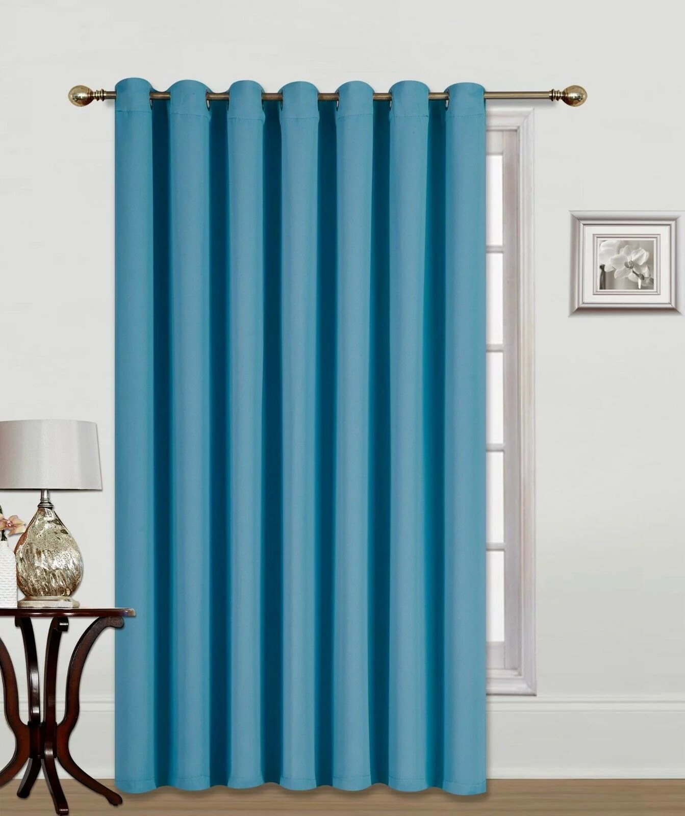 k100 thermal teal blackout panel 1pc patio door window curtain sliding door 3 layered grommets heat cold and full light blocking drapes divider size