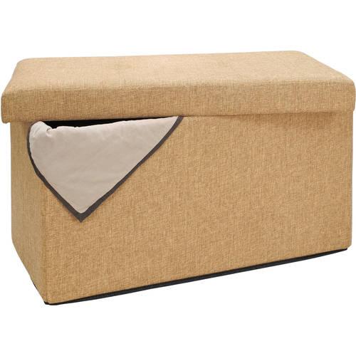 simplify faux linen double folding storage ottoman in camel