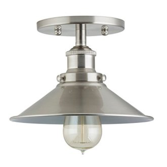 Andante Industrial Factory Semi Flushmount Ceiling Lamp   Brushed     Andante Industrial Factory Semi Flushmount Ceiling Lamp   Brushed Nickel  One Light Fixture with Metal