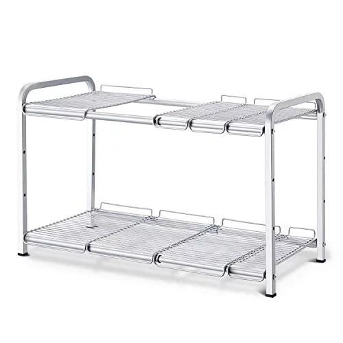 simple trending 2 tier under sink expandable cabinet shelf organizer rack for kitchen bathroom storage silver
