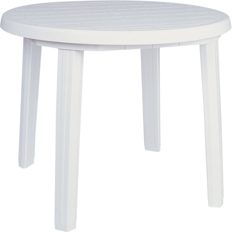 atlin designs 36 round resin patio dining table in white walmart com