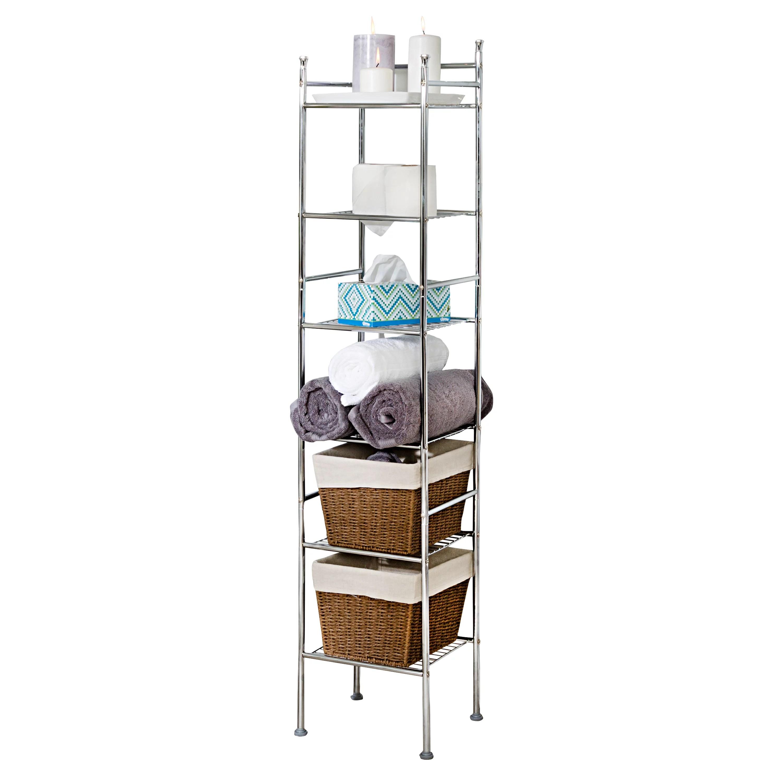 honey can do 6 tier bathroom storage shelving unit chrome walmart com