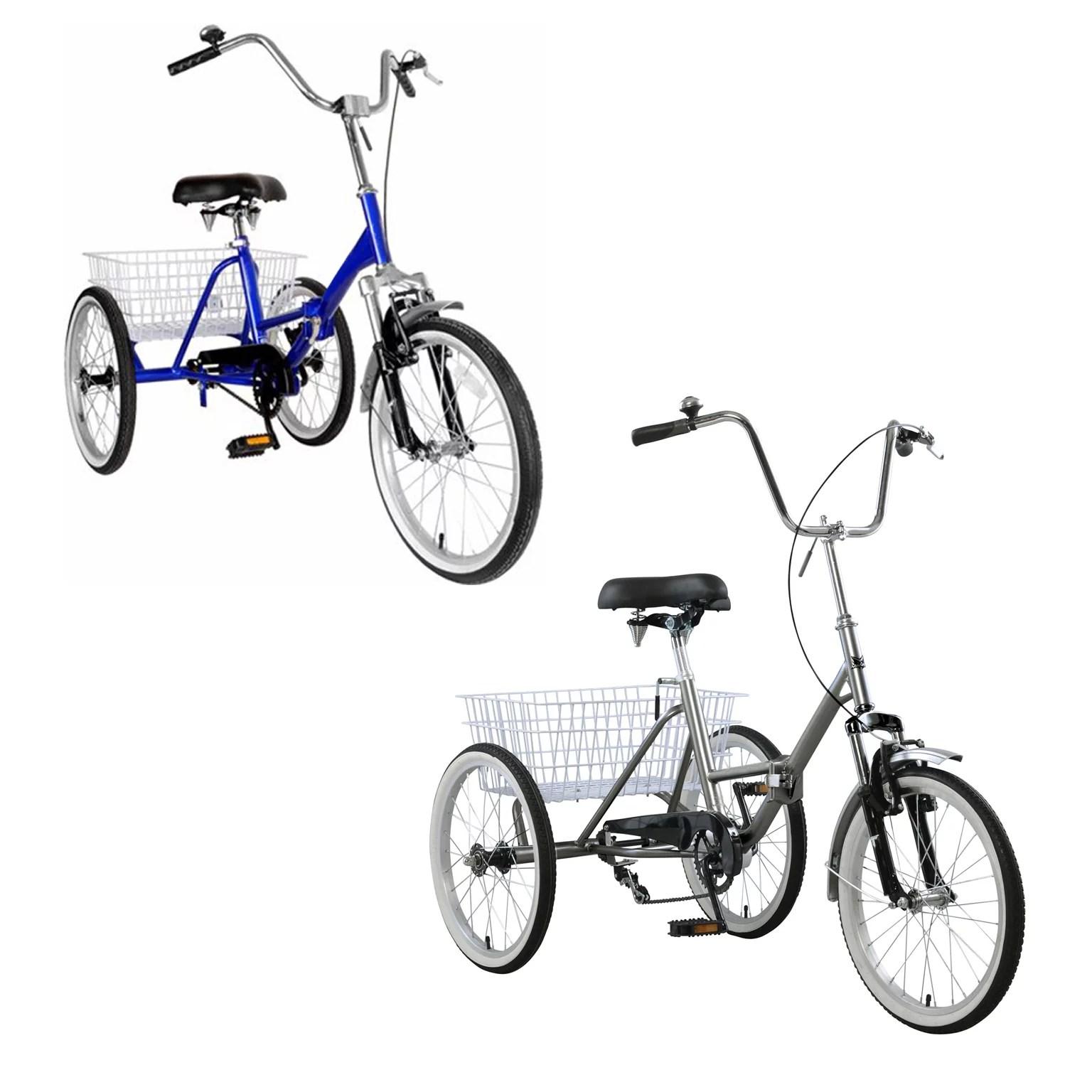 Areyourshop Adult Folding Tricycle Bike 3 Wheeler Bicycle