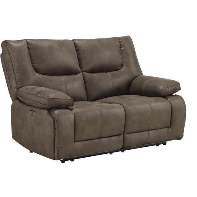 benjara bm218529 power motion reclining leatherette loveseat with pillow top armrests brown