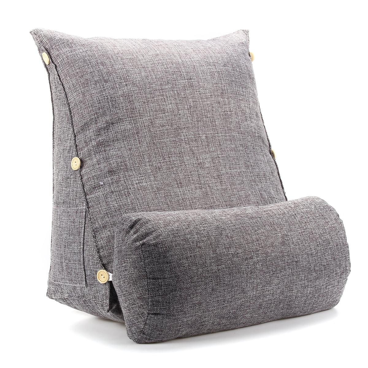 Adjustable Wedge Cotton Back Cushion Pillow Office Sofa Bed Backrest Waist Support Smoke Grey Size 18 X18 X8 Walmart Com Walmart Com