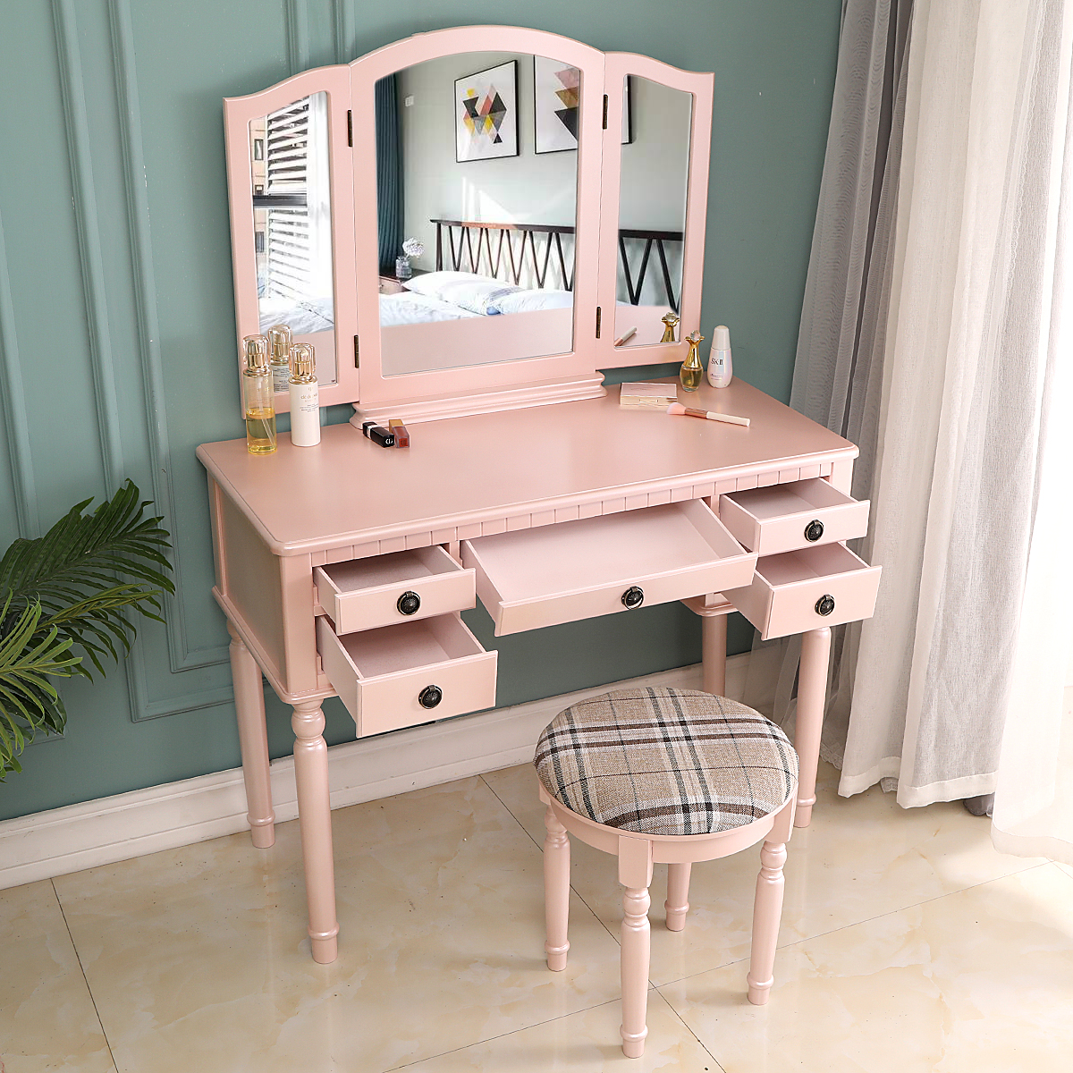 ktaxon large makeup vanity table set dressing table w tri folding mirror cushioned stool 5 drawers wood bedroom furniture pink