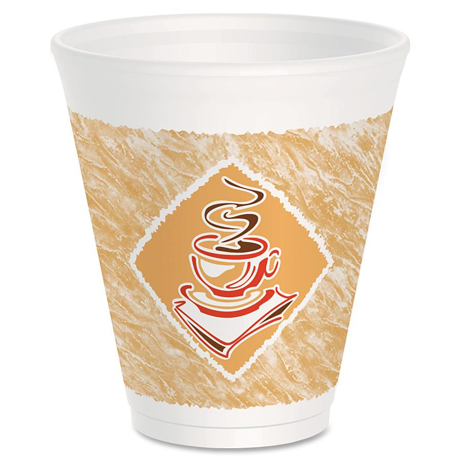 THERMO-GLAZE CAFE G STYROFOA COFFEE CUPS, RED/BROWN/BLACK, 12 OZ., 1,000 PER CASE