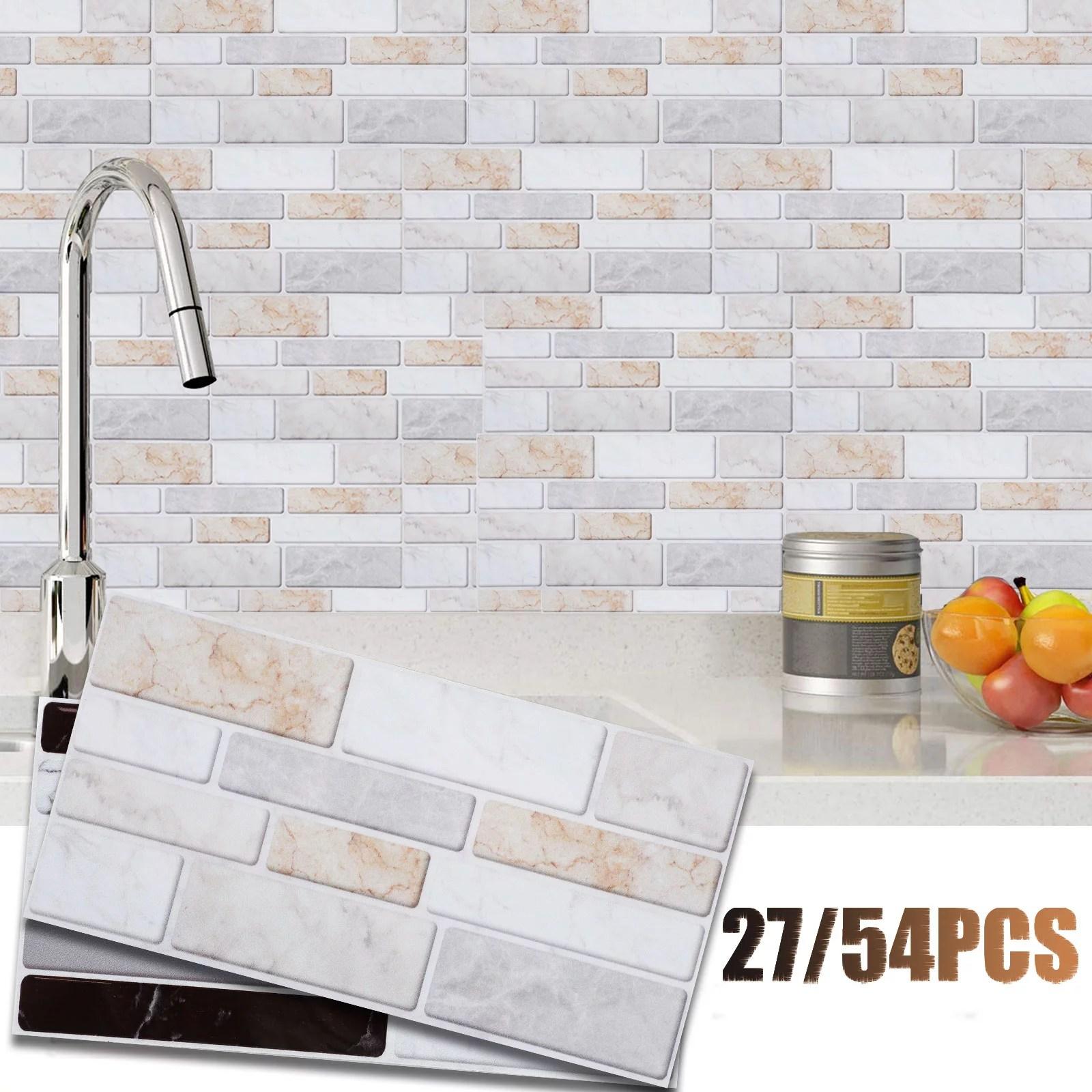 tsv 27 54pcs peel and stick backsplash wall tile 3d self adhesive removable wallpaper mosaic tile sticker for kitchen bathroom 3d wall sticker