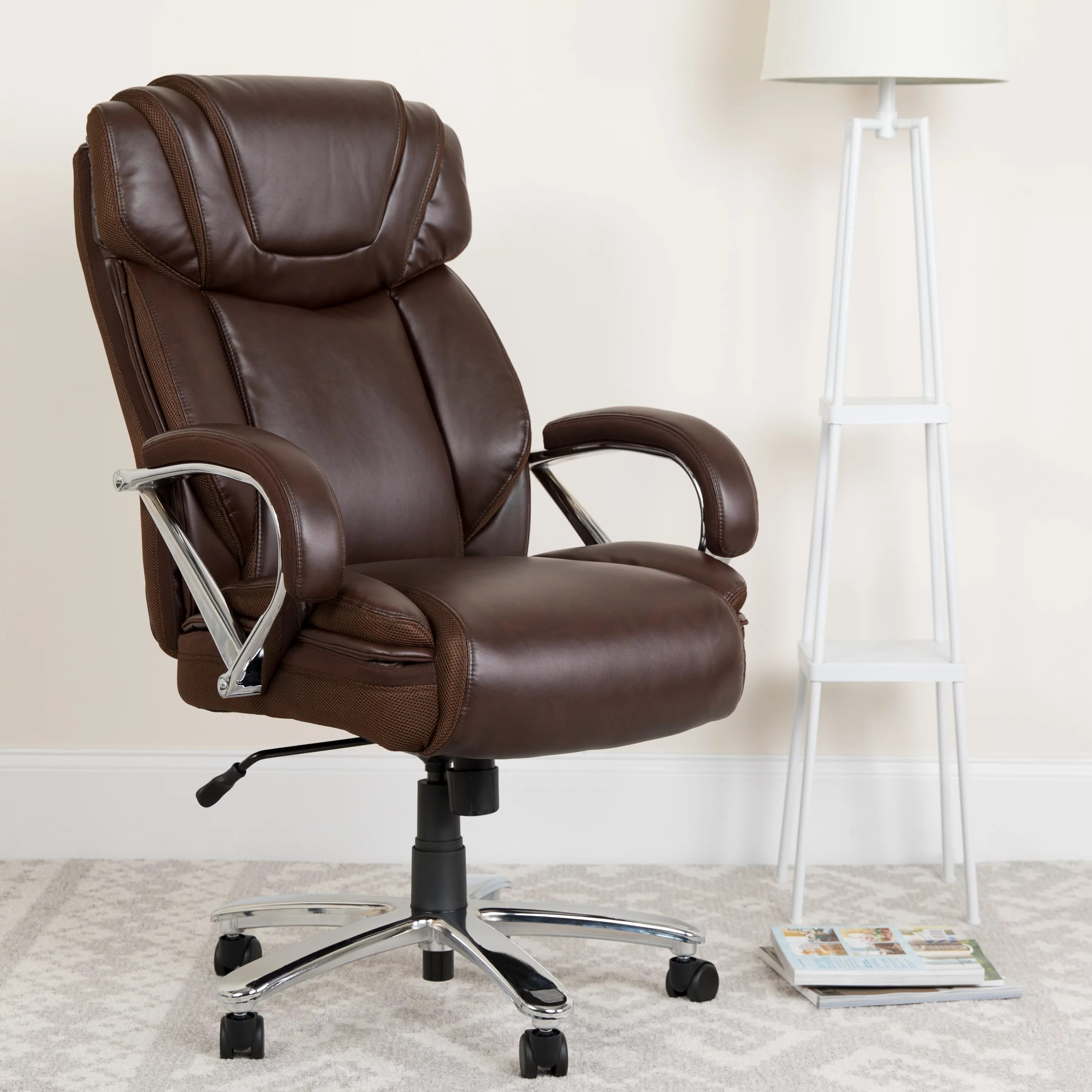 Flash Furniture Hercules Series Big Tall 500 Lb Rated Brown Leathersoft Executive Swivel Ergonomic Office Chair With Extra Wide Seat Walmart Com Walmart Com