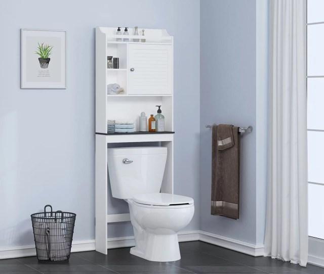 Spirich Home Bathroom Shelf Over The Toilet Bathroom Cabinet Organizer Bathroom Spacesaver White