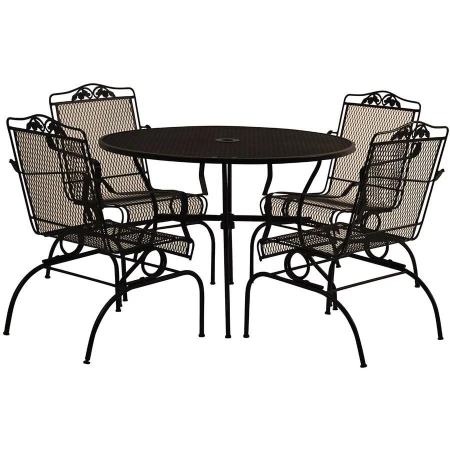 arlington house wrought iron outdoor 5 pc action dining set charcoal walmart com