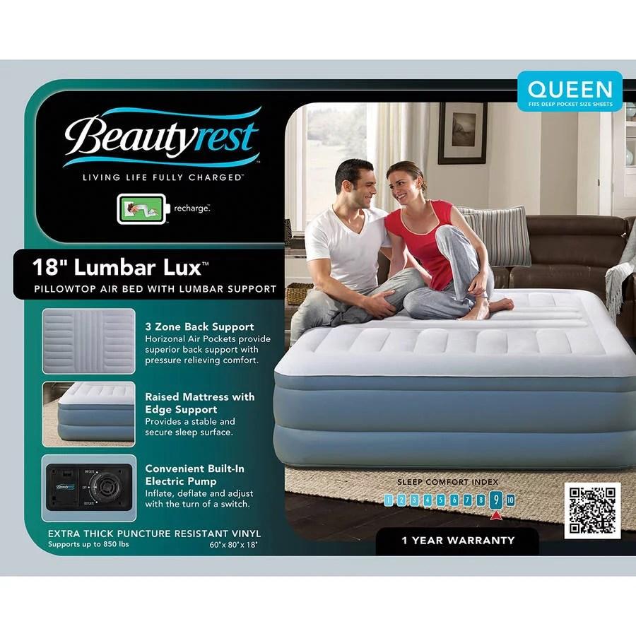 beautyrest queen lumbar lux raised air mattress with internal pump 1 each
