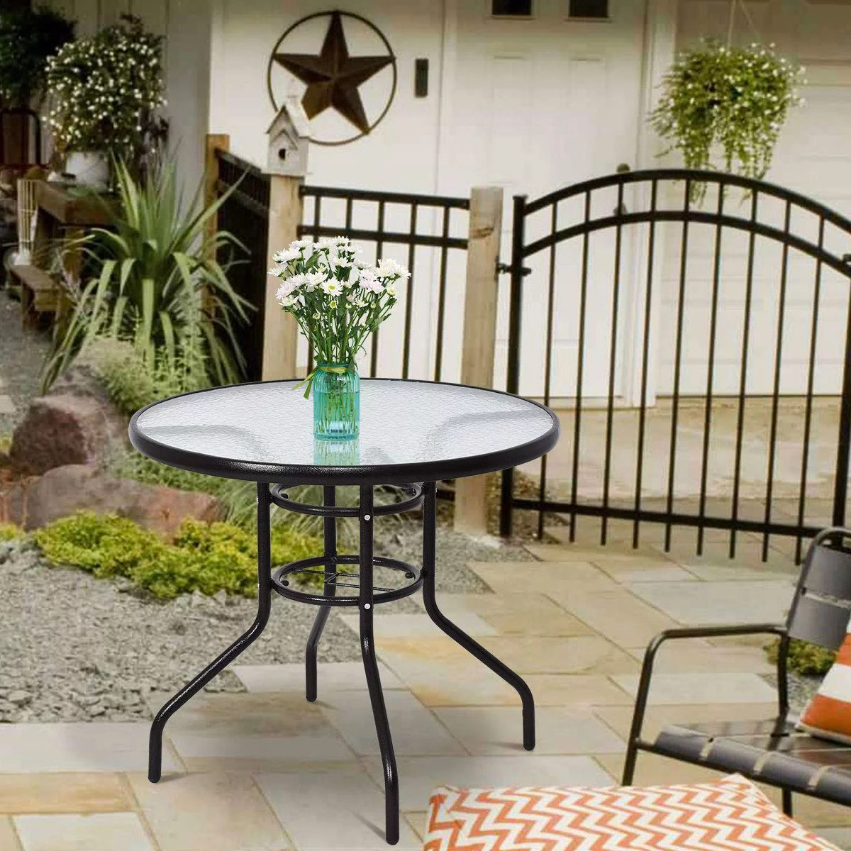 round glass patio dining table 31 tempered glass top metal frame patio table outside side tables w umbrella hole conversation coffee table for
