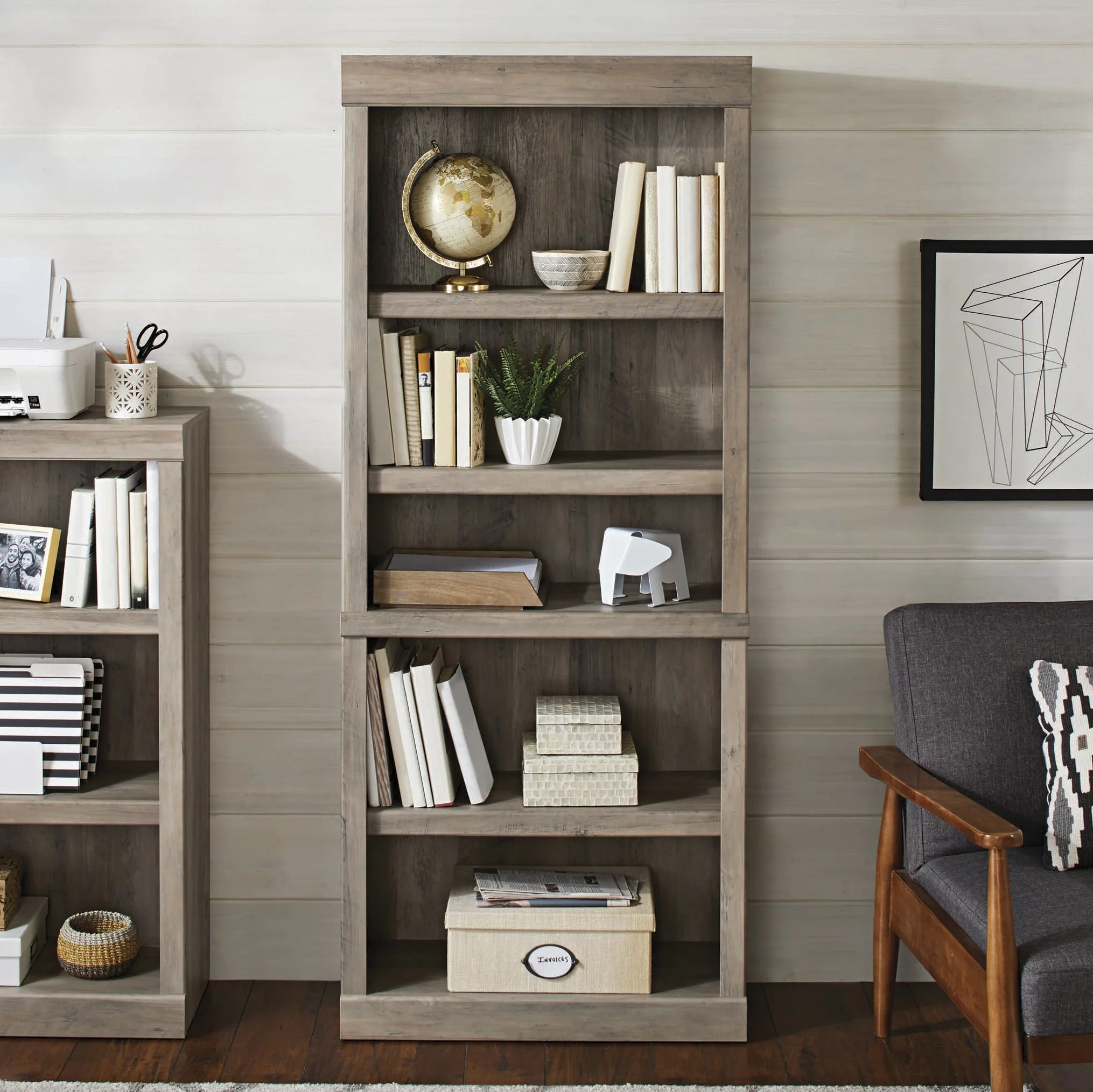 Better Homes Gardens Glendale 5 Shelf Bookcase Rustic Gray Finish Walmart Com Walmart Com