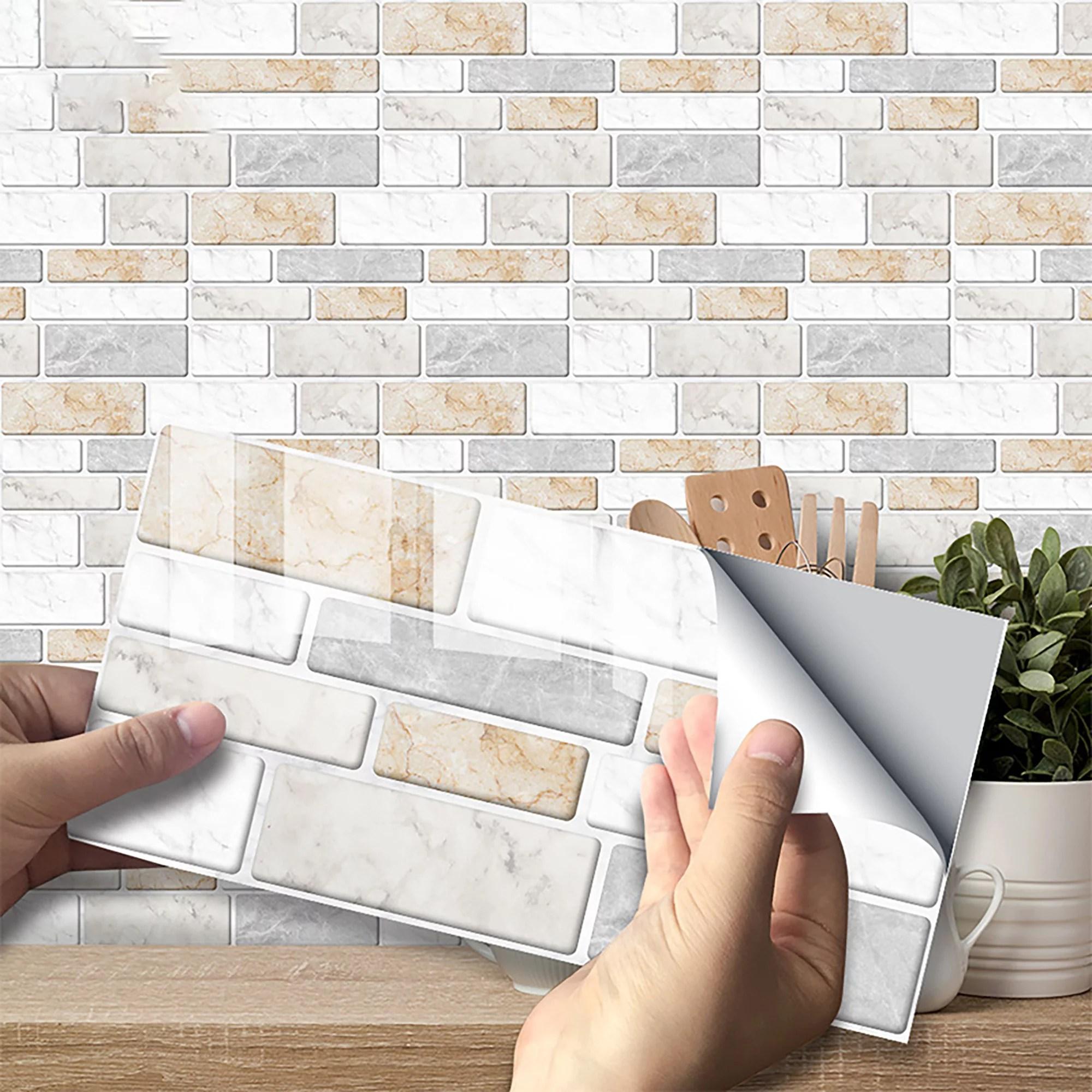 self adhesive kitchen wall tiles bathroom mosaic tile sticker peel stick wallpaper walmart com