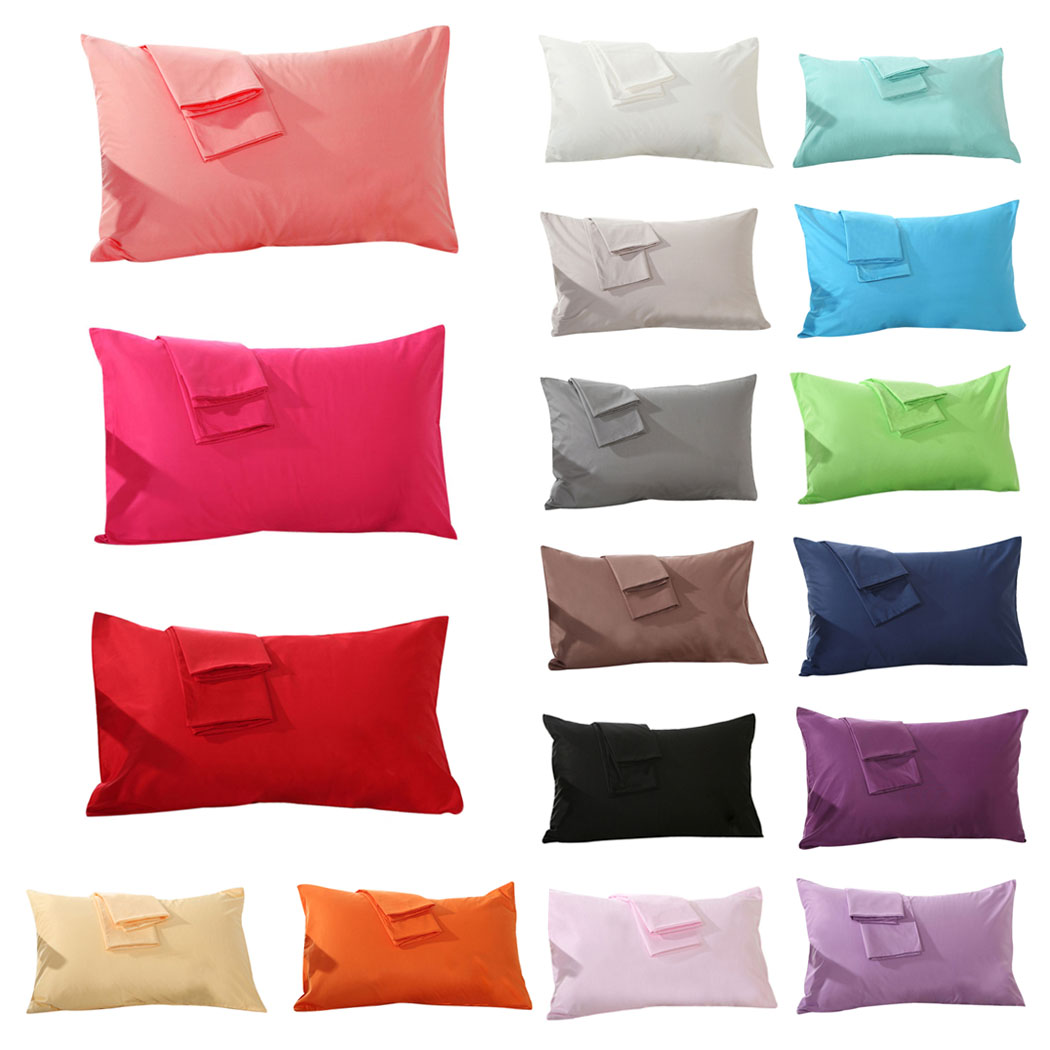 outgeek set of 2 soft cotton solid color pillowcases pillow cover for home bedroom hotel travel standard size