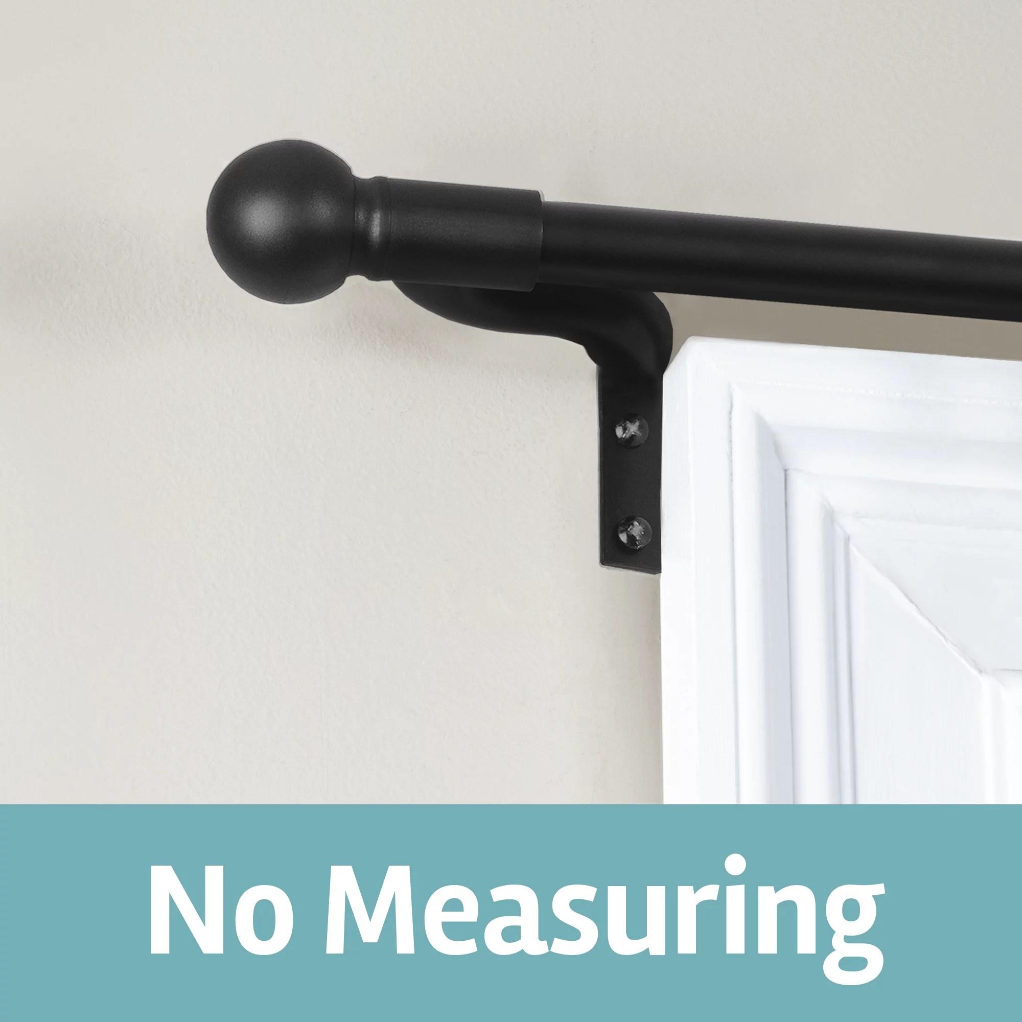 smart rods adjustable tension wall mount cafe single curtain rod 18 48 black walmart com