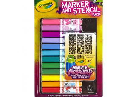 Crayola Marker and Stencil Pack, Washable Markers and Stencil Sheets
