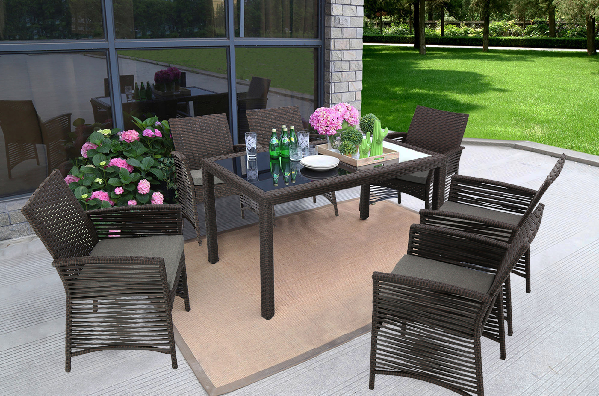 baner garden h19ch 7 pieces outdoor patio backyard steel frame sofa set rattan furniture six chairs and one rectangle table with cushions chocolate