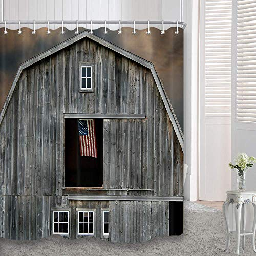dynh farmhouse shower curtain american flag flying in a window of wooden house waterproof polyester fabric bathroom decor bath curtains