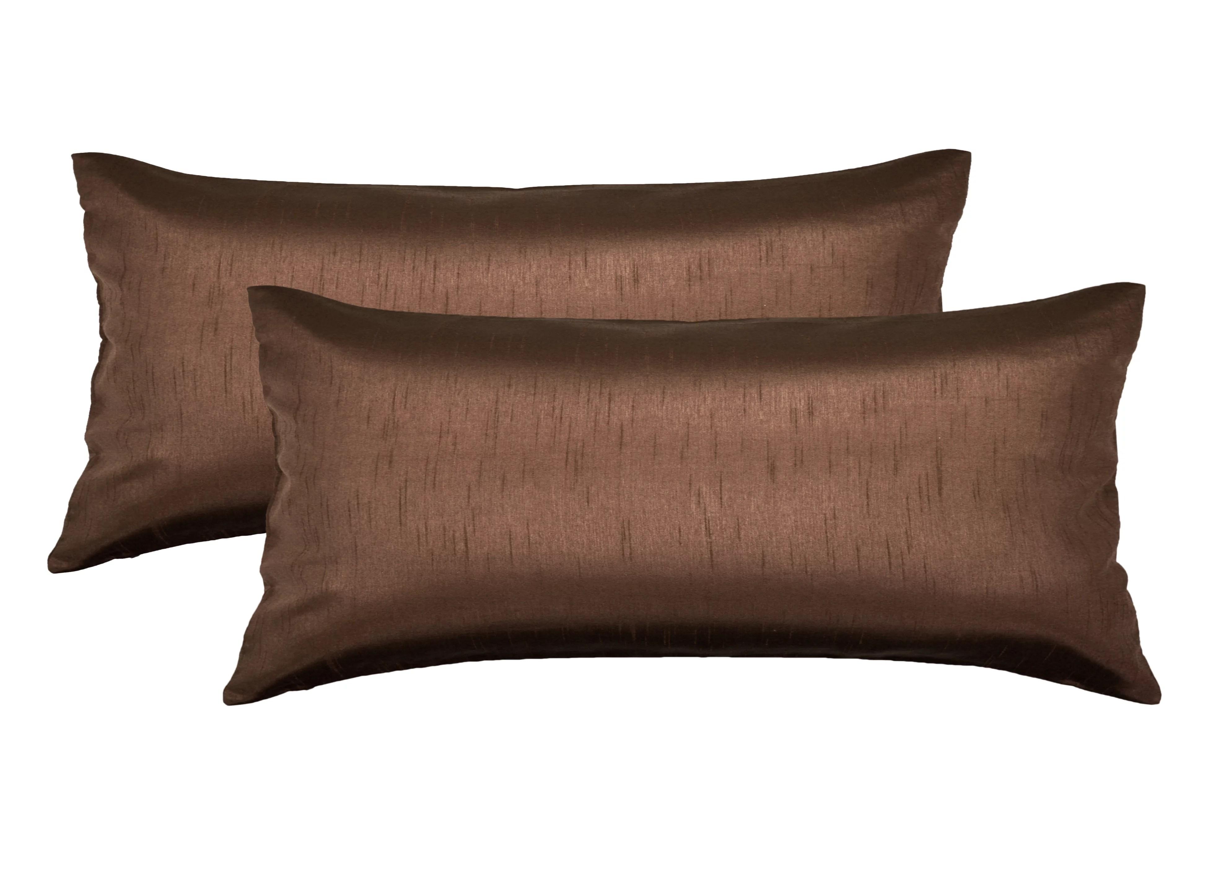 aiking home 12x24 inches faux silk rectangular throw pillow cover zipper closure brown set of 2 walmart com