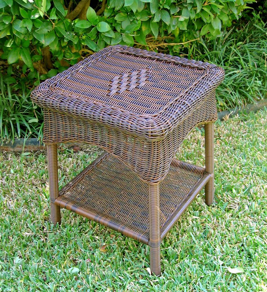 wicker resin two tier patio side table white