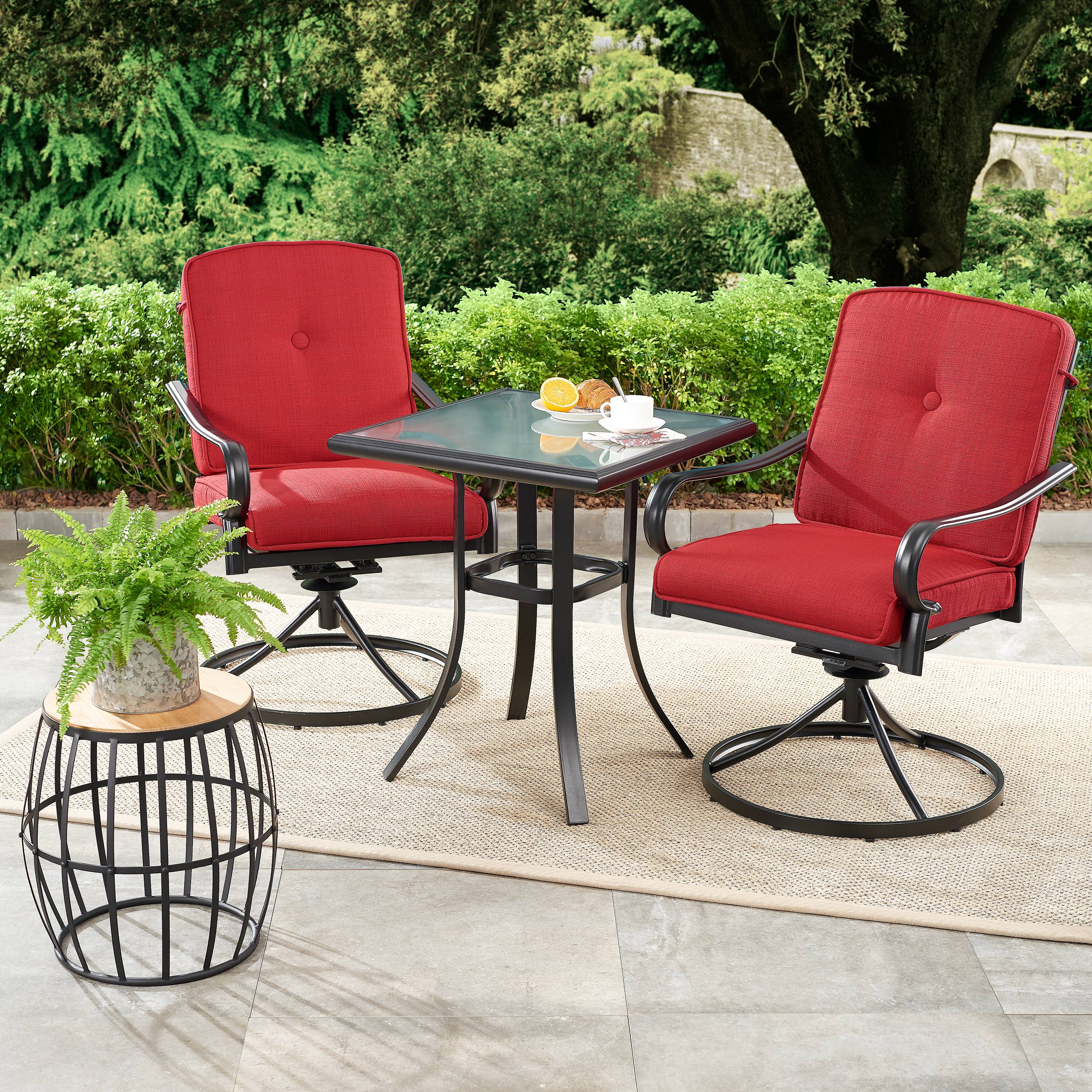 mainstays carson creek 3 piece patio bistro set with brick red cushions