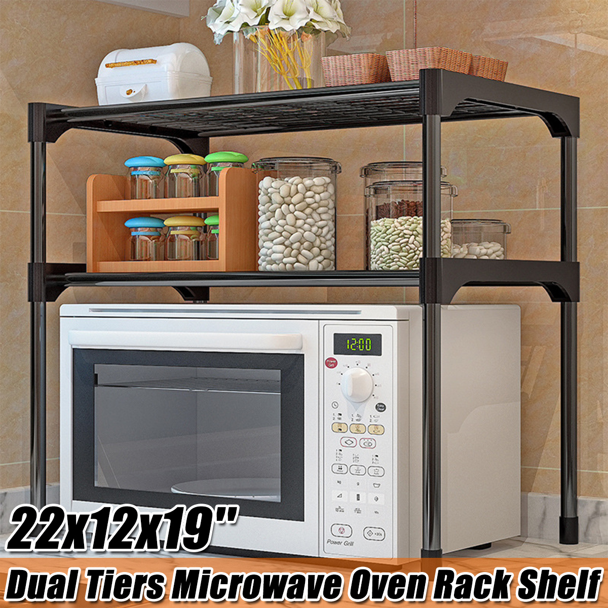 microwave stand toaster oven rack 2 tier microwave shelf counter spice organizer shelf for kitchen storage