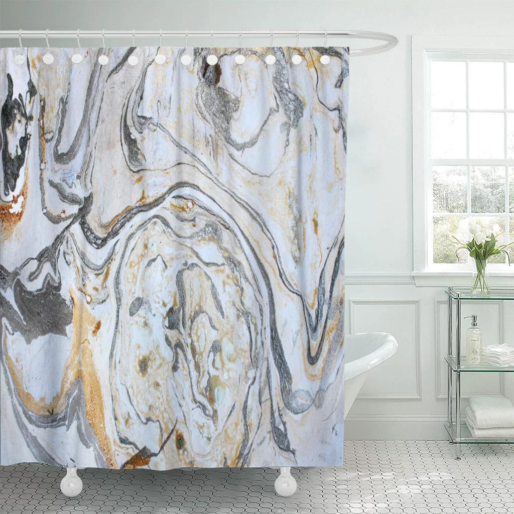 pknmt abstract marbling ink hand black white gold silver shower curtain 60x72 inches