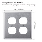 5 Pack Bestten 2 Gang Duplex Outlet Stainless Steel Wall Plates Standard Metal Outlet Cover Durable Corrosion Resistant Industrial Grade 304ss Material Silver Walmart Com Walmart Com