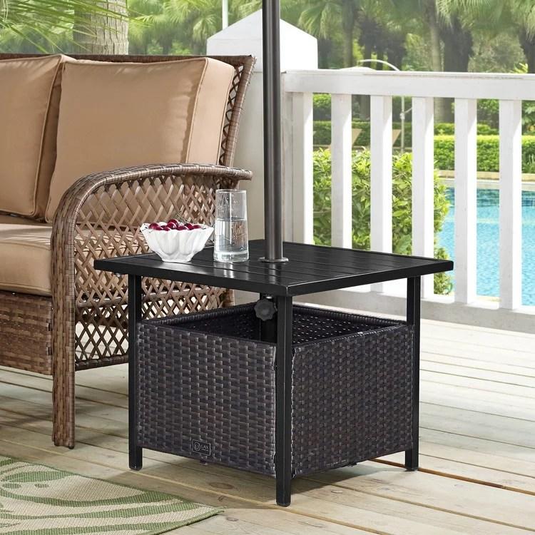 ulax furniture patio pe wicker umbrella side table stand outdoor bistro table with umbrella hole walmart com