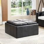 Hodedah Faux Leather Storage Ottoman With 4 Flip Over Serving Trays Black Walmart Com Walmart Com