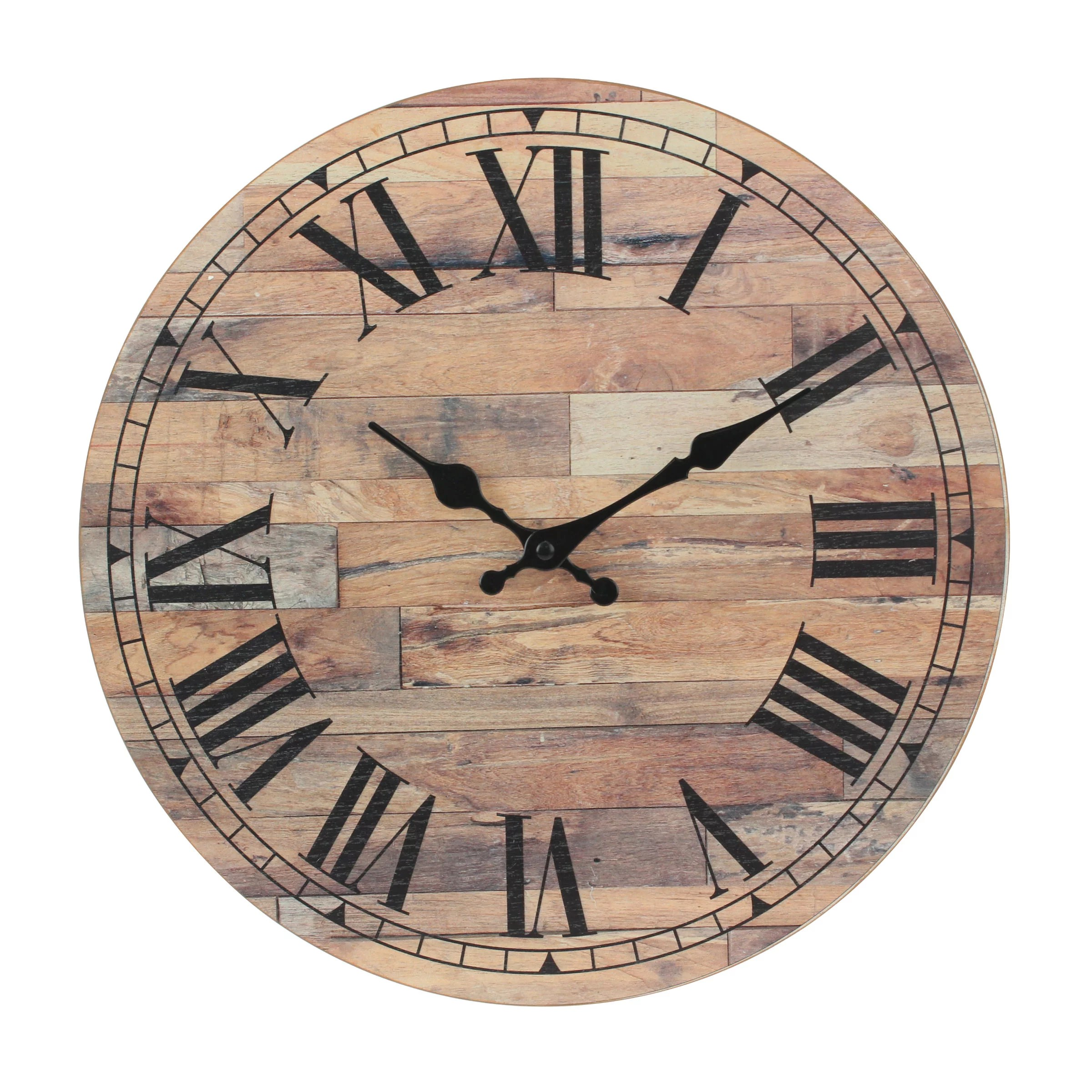 Stonebriar Old Fashioned 14 Inch Round Wood Roman Numeral