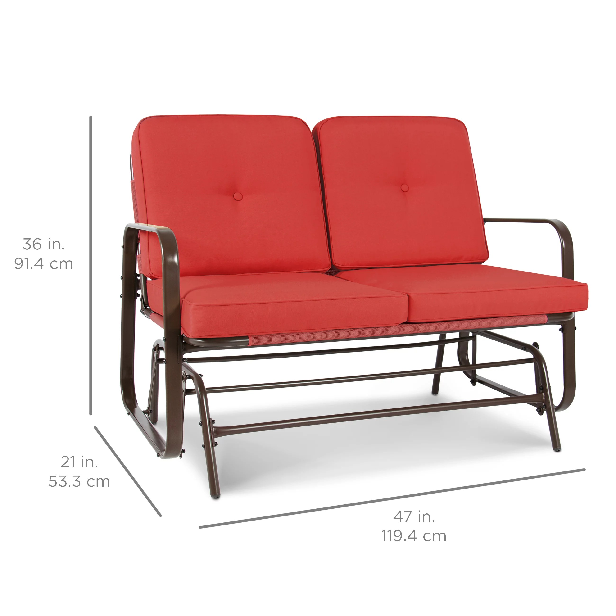 Best Choice Products 2 Person Outdoor Patio Glider Loveseat Rocking Chair W Uv Resistant Cushions Red Orange Walmart Com Walmart Com