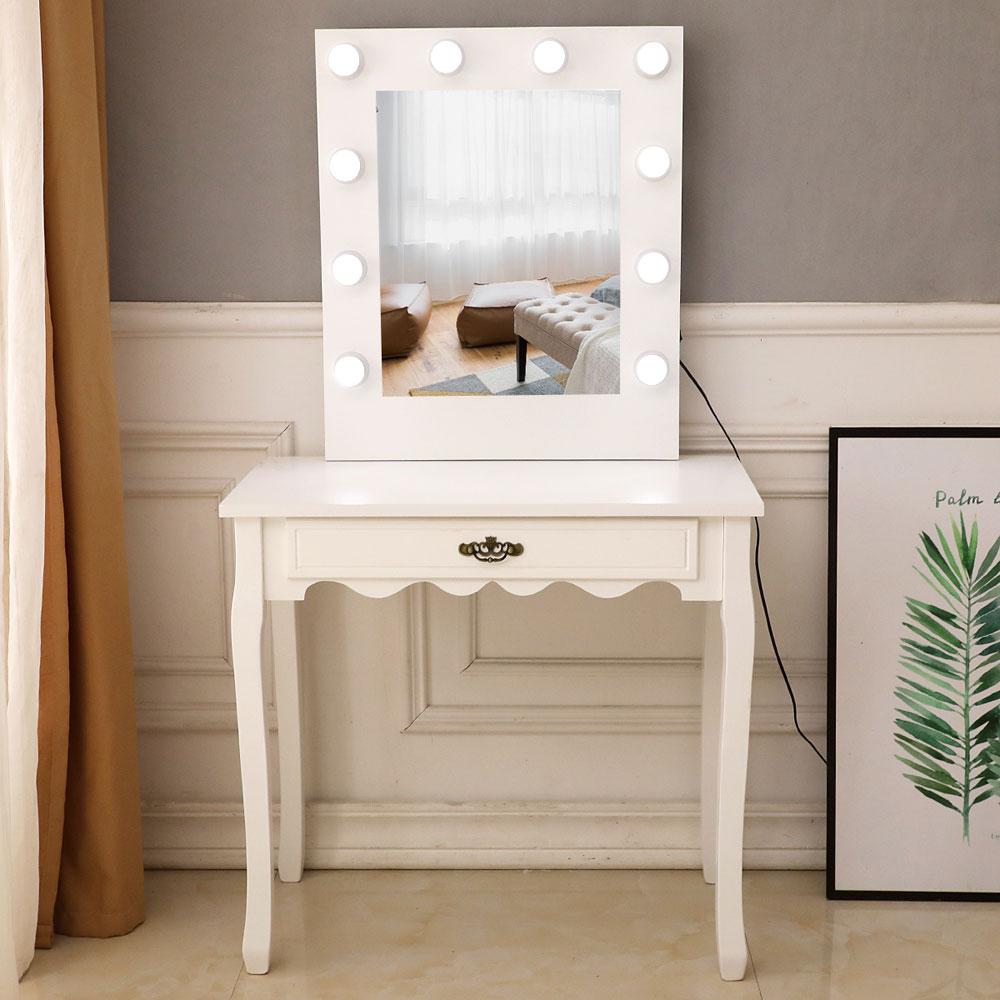 topcobe makeup vanity set vanity table makeup vanity desk for bedroom makeup table with jewelry organizer and storage drawers white light