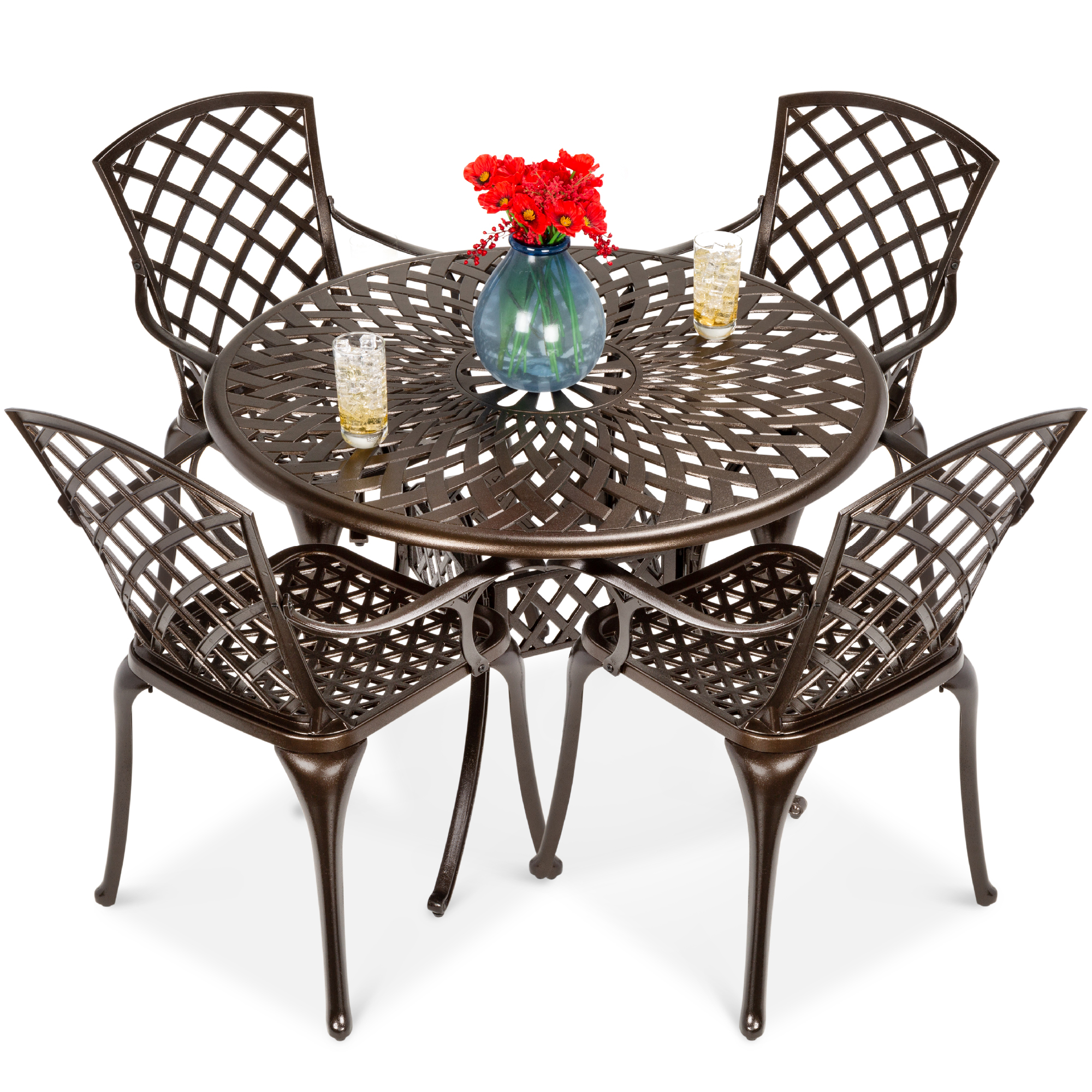 best choice products 5 piece all weather cast aluminum patio dining set w chairs umbrella hole lattice weave design
