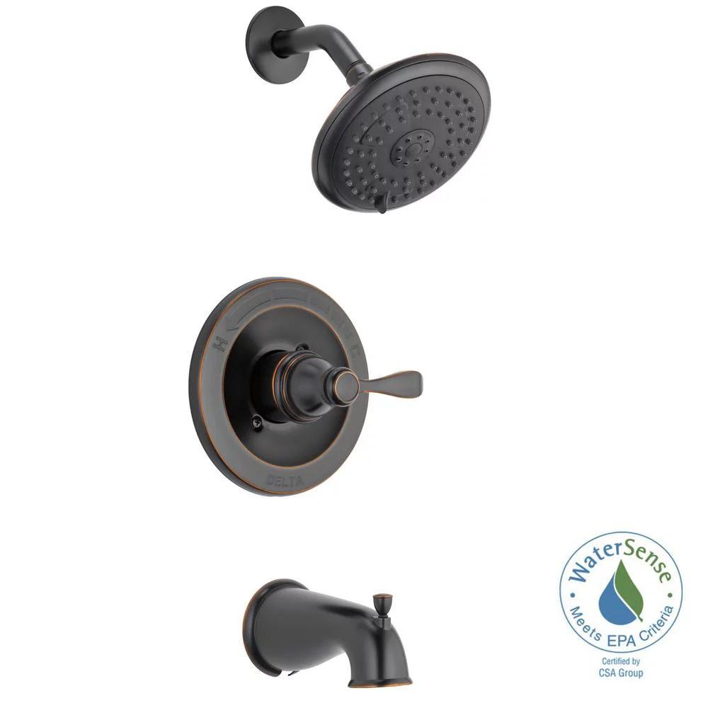 delta porter single handle 3 spray tub and shower faucet in oil rubbed bronze walmart com