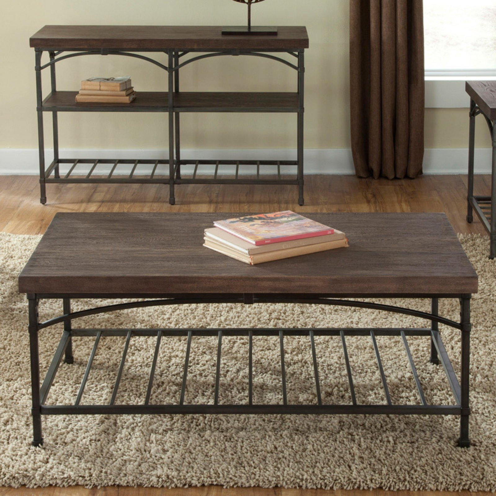 franklin rectangular rustic brown coffee table walmart com