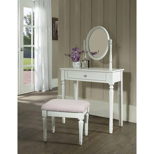 princess bedroom vanity set with mirror and bench white