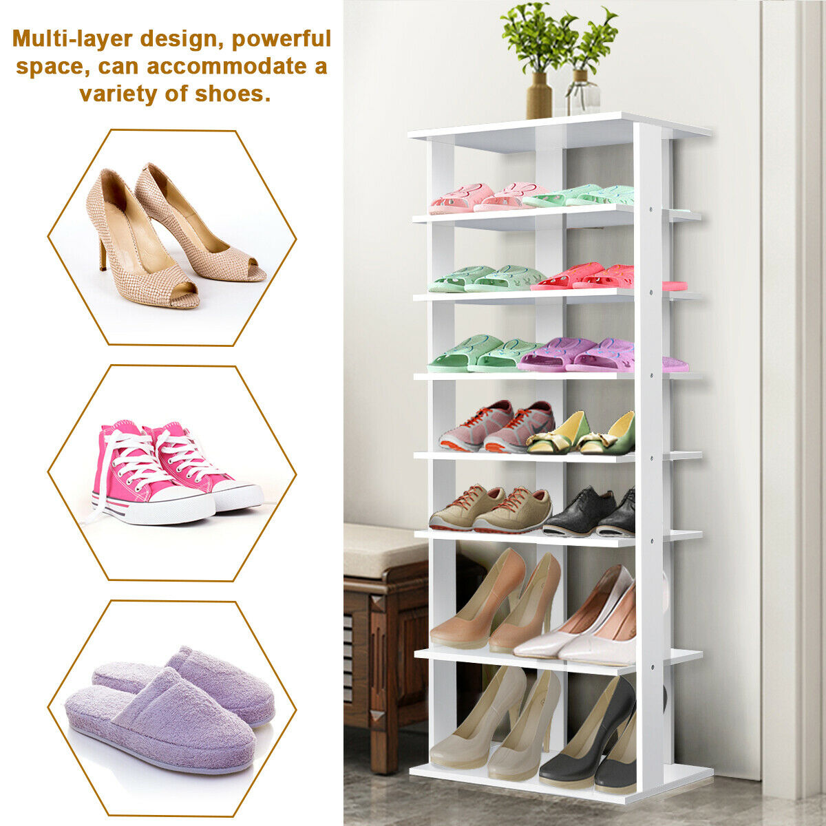 gymax wooden shoes storage stand 7 tiers big shoe rack organizer multi shoe rack