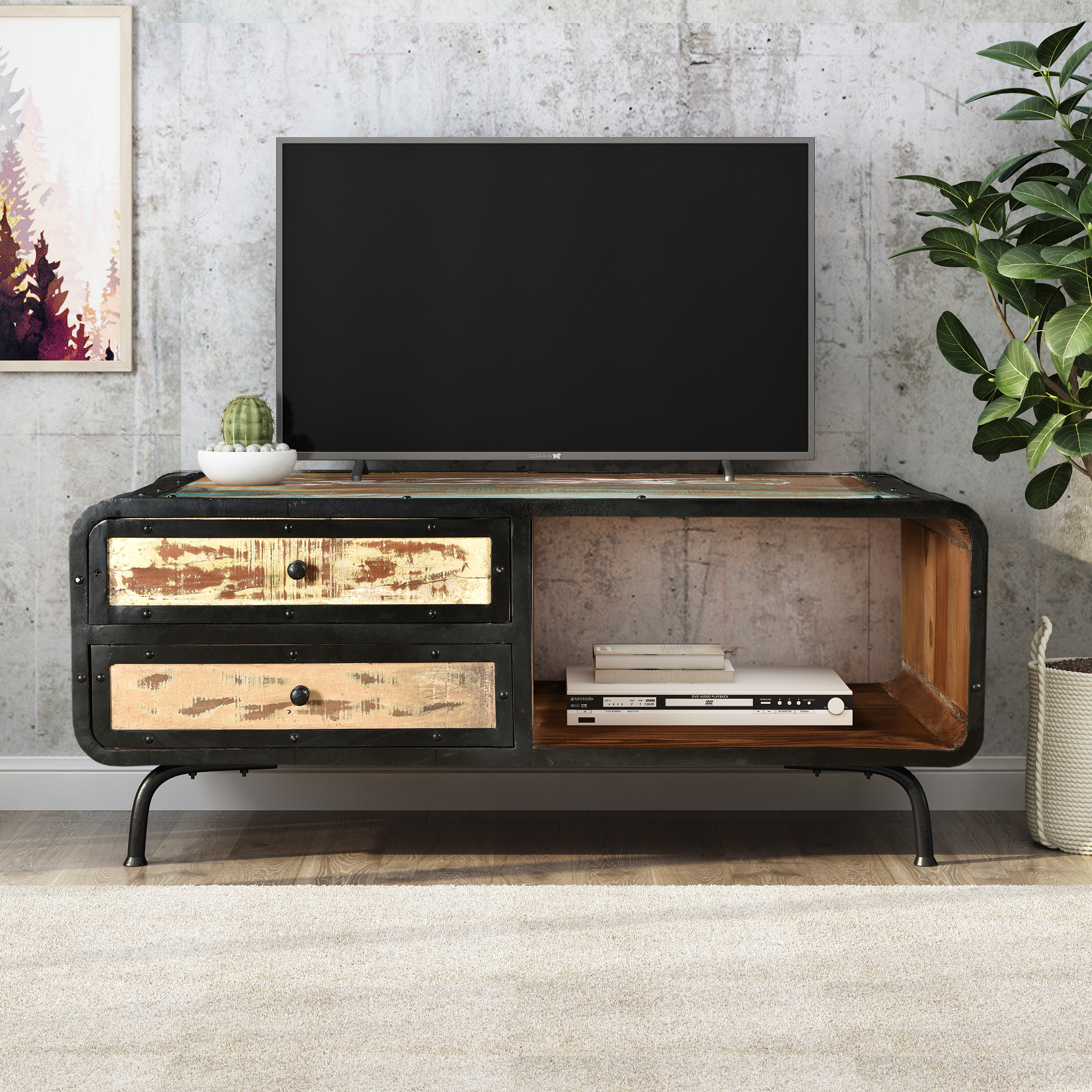 abby boho industrial recycled wood coffee table distressed paint and black walmart com