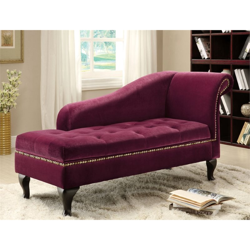 furniture of america demetria fabric tufted storage chaise lounge in red