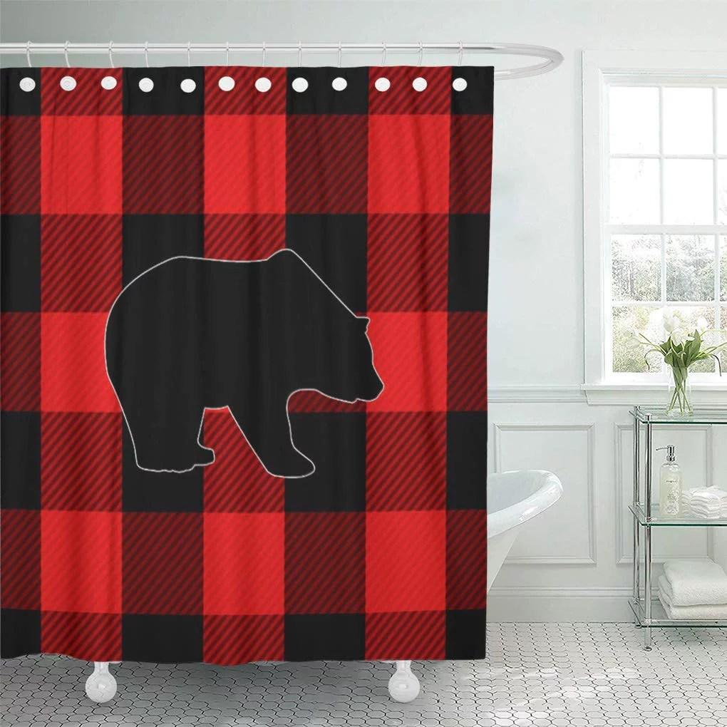 suttom rustic lumberjack red buffalo check bear plaid pattern forest shower curtain 66x72 inch walmart com