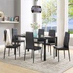 Kitchen Dining Table Set 7 Piece Modern Glass Kitchen Table And Chairs Set Kitchen Tables And Chairs Glass Table Top With 6 Leather Chairs Dining Room Table Set For Small Spaces Kitchen