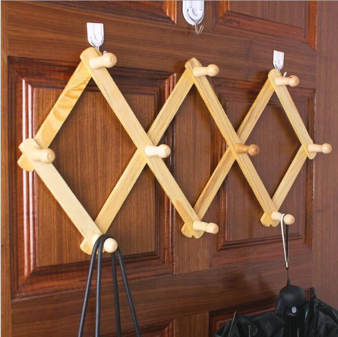 wooden expandable coat rack hanger wall mounted accordion pine wood hook for hanging hats caps mugs coats