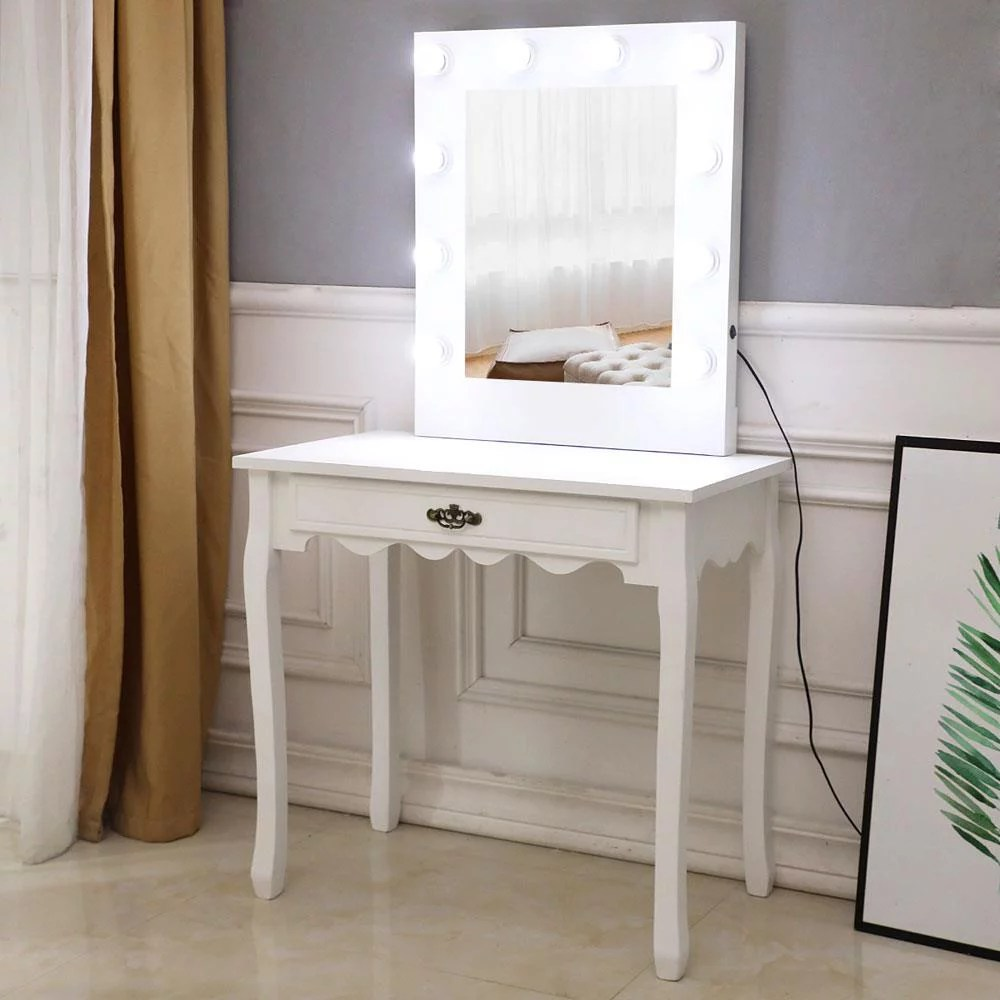 ktaxon makeup vanity w 10 led lights square mirror vanity table with drawer wood dressing table for bedroom white