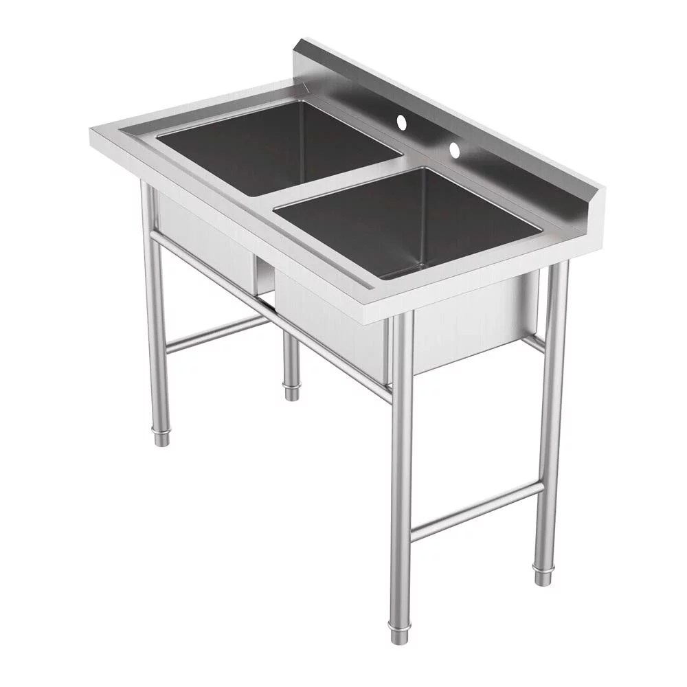 ktaxon commercial 304 stainless steel sink 2 compartment free standing utility sink for garage restaurant kitchen laundry room outdoor 37 w x