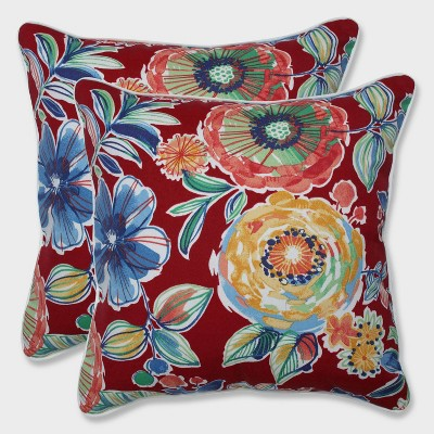 set of 2 red and blue floral outdoor patio corded square throw pillows 18 5