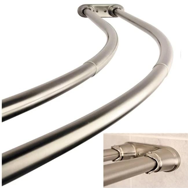 bennington adjustable double curved shower curtain rod satin nickel